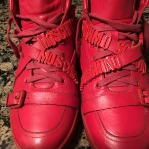 Moschino Red Leather Hightop Sneaker Sz 45 STEAL